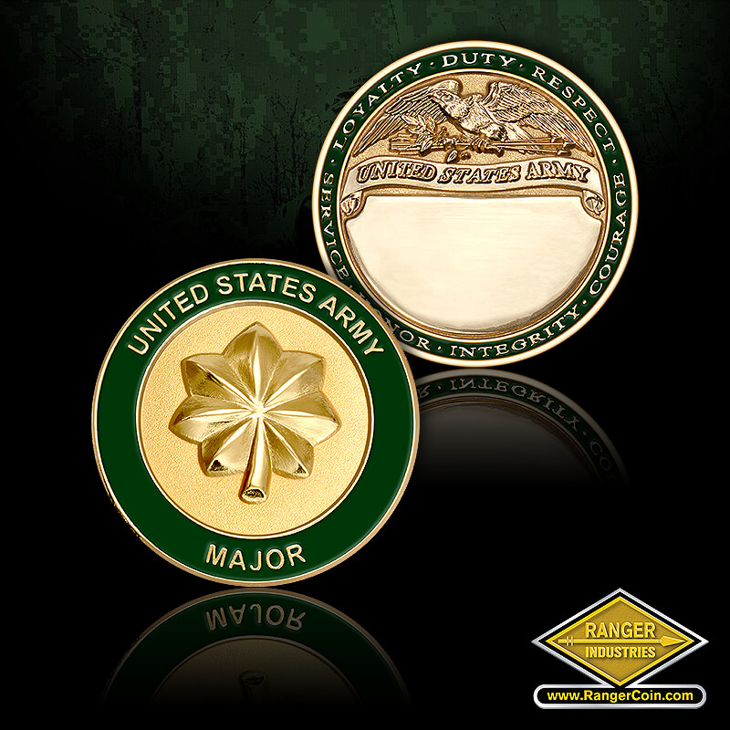 US Army Major Engravable - United States Army Major, Loyalty, Duty, Respect, Service, Honor, Integrity, Courage