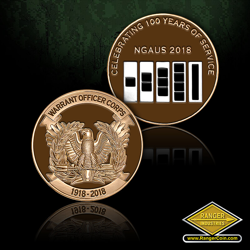 Warrant Officer Corps 100 Year coin - Warrant Officer corps, 1918 2018, eagle, Celebrating 100 Years of Service, NGAUS 2018, Warrant Officers