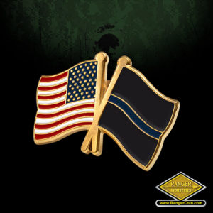 SC-5440 Thin Blue Line Crossed Flags