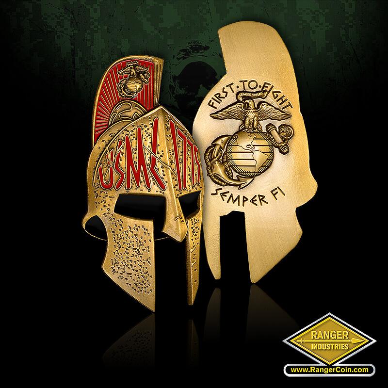 Spartan Helmet - EGA, USMC, 1775, First to Fight, Semper Fi, SGT Grit