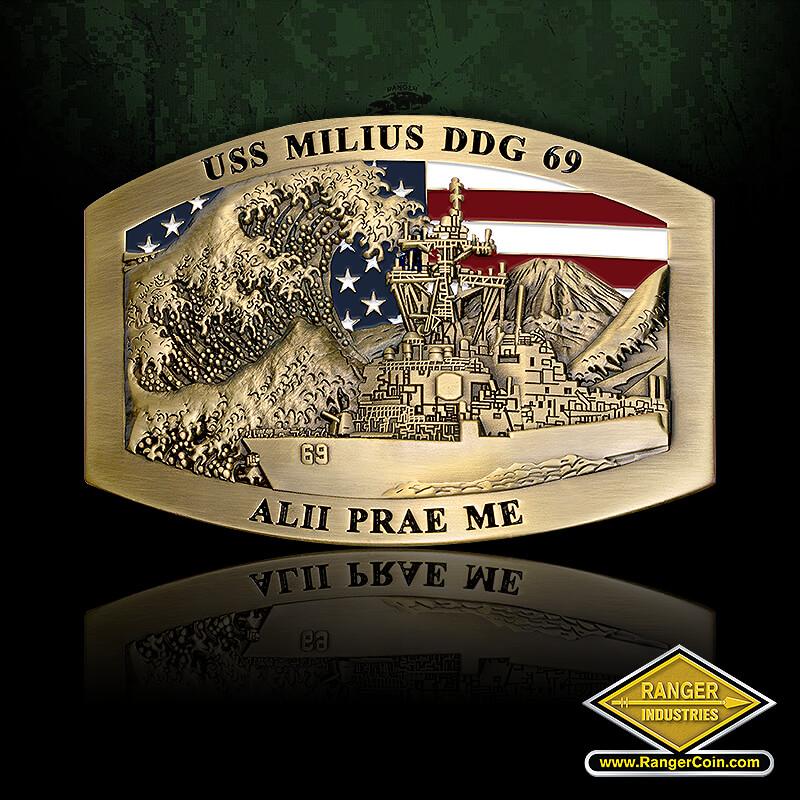 USS Milius Belt Buckle – brass - USS Milius DDG 69, Alii Prae Me, American flag