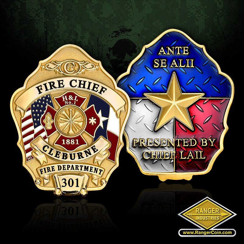 Cleburne Fire Department - Fire Chief, Cleburne Fire Department 301, H&L No. 1, 1881, Texas, American flag, Ante Se Alii, Presented by Chief Lail