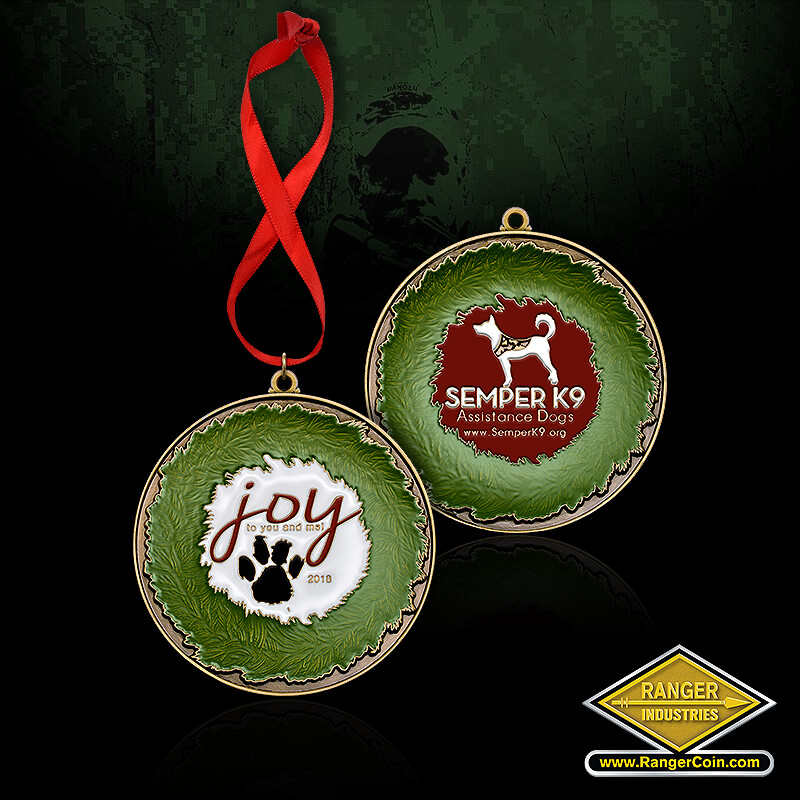 Semper K9 Ornament - Joy to you and me, 2018, paw print, Semper K9 Assistance Dogs