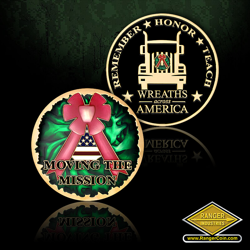 Wreaths Across America Truck - Moving the Mission, Christmas Wreath, Ribbon Bow, Remember, Honor, Teach, Wreaths Across America, Truck