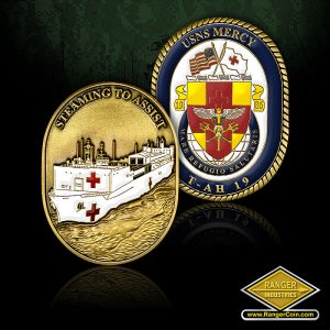 USNS Mercy Ship coin - USNS Mercy, T-AH 19, Mare Refugio Salutaris, Steaming To Assist
