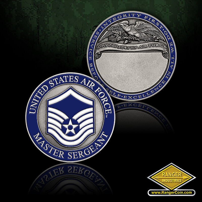 Air Force Master Sergeant - United States Air Force, Master Sergeant, Service before self, excellence in all we do, integrity first, United States Air Force, engravable