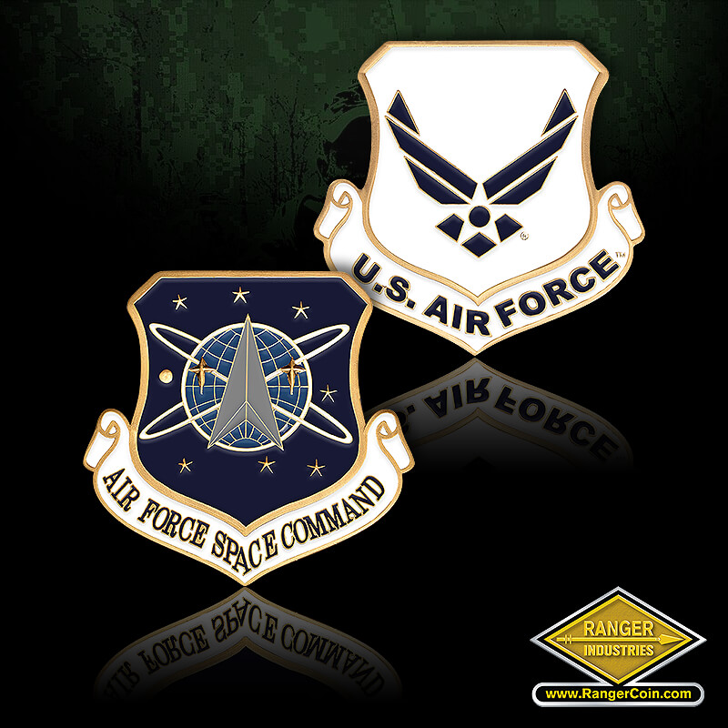 Air Force Space CMD Enamel - Air Force Space Command, USAF, U.S. Air Force