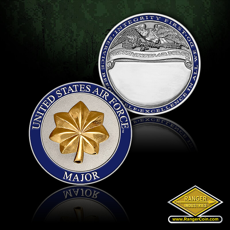 Air Force Major Engravable - United States Air Force, Major, Service before self, excellence in all we do, integrity first, United States Air Force, USAF, eagle, engravable