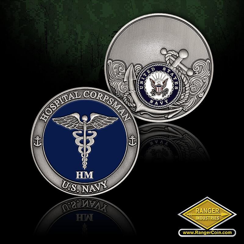 USN Corpsman - Hospital Corpsman, U.S. Navy, HM, Caduceus, United States Navy, engravable, anchor
