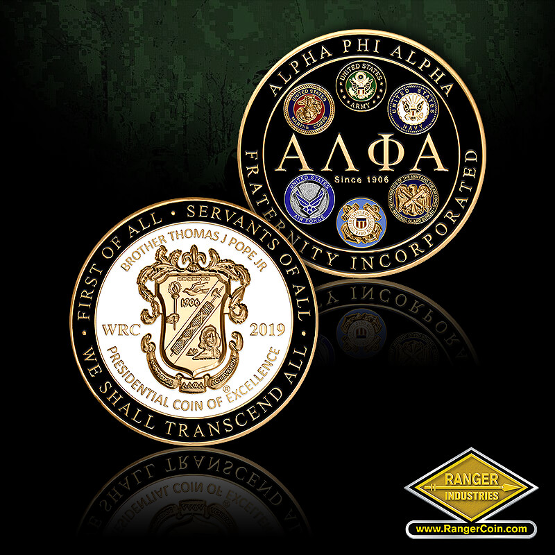 WRC 2019  Excellence Award - First of All, Servants of All, We Shall Transcend All, WRC 2019, Brother Thomas J Pope Jr, Presidential Coin of Excellence, Alpha Phi Alpha, Fraternity Incorporated, Since 1906, EGA, USMC, ARMY, NAVY, USAF, USCG, Joint Chiefs