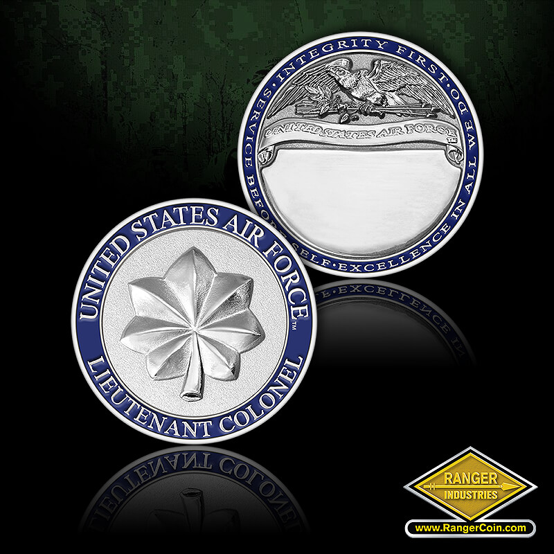 USAF Lt Col Rank coin - United States Air Force, Lt. Colonel, Integrity first, Service before self, Excellence in all we do, United States Air Force, engravable