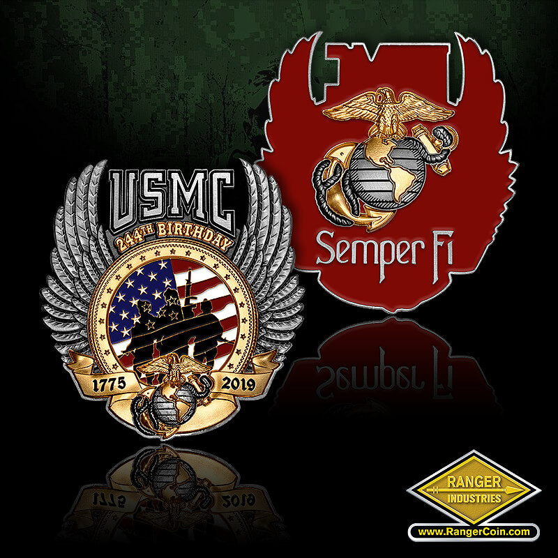USMC Birthday - Semper Fi, EGA, USMC, 1775-2019, 244th Birthday, EGA,