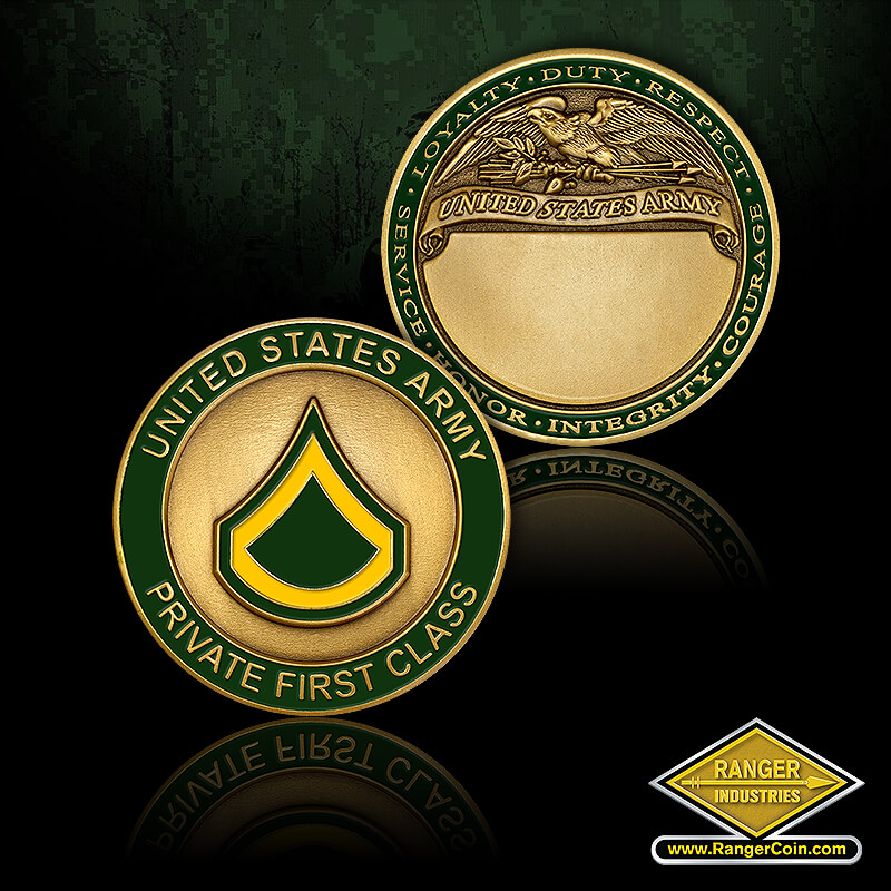 US Army Private First Class - United States Army Private First Class, Loyalty, Duty, Respect, Service, Honor, Integrity, Courage, United States Army