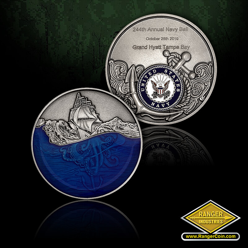 244th Navy Ball coins - Kraken sea monster, 244th Annual Navy Ball, October 25th 2019, Grand Hyatt Tampa Bay