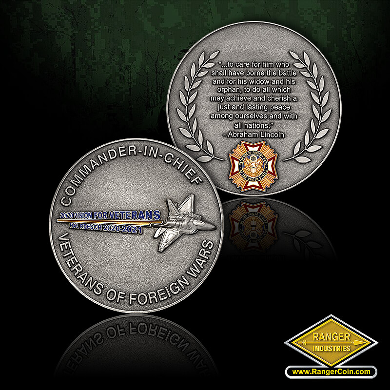 VFW 2019 Membership Coins - Commander-in-Chief, Veterans of Foreign Wars, F22 2020 Vision for Veterans Hal Roesch 2020-2021, Abraham Lincoln, VFW