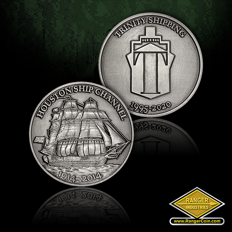 Trinity Shipping Coin-  Antique Silver - Houston Ship Channel, 1914-2014, Trinity Shipping, 1995-2020