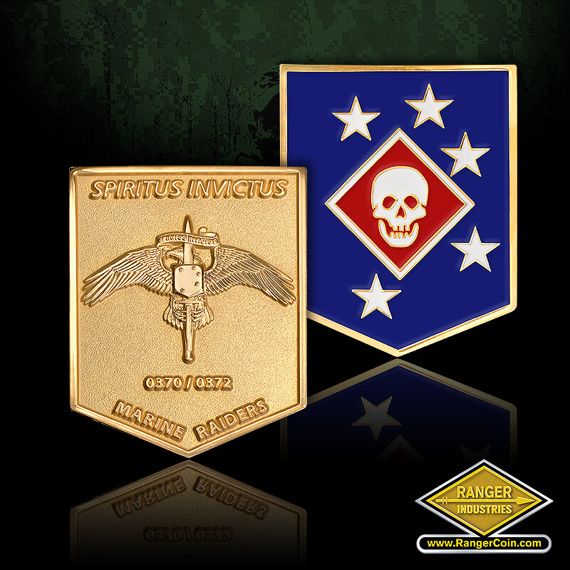 Marsoc Raiders Recruiting coin - Marine Raiders, Spiritus Invictus, established 24 February 2006, special operations command, United Stats Marine Corps, spear tip, marine corps ega
