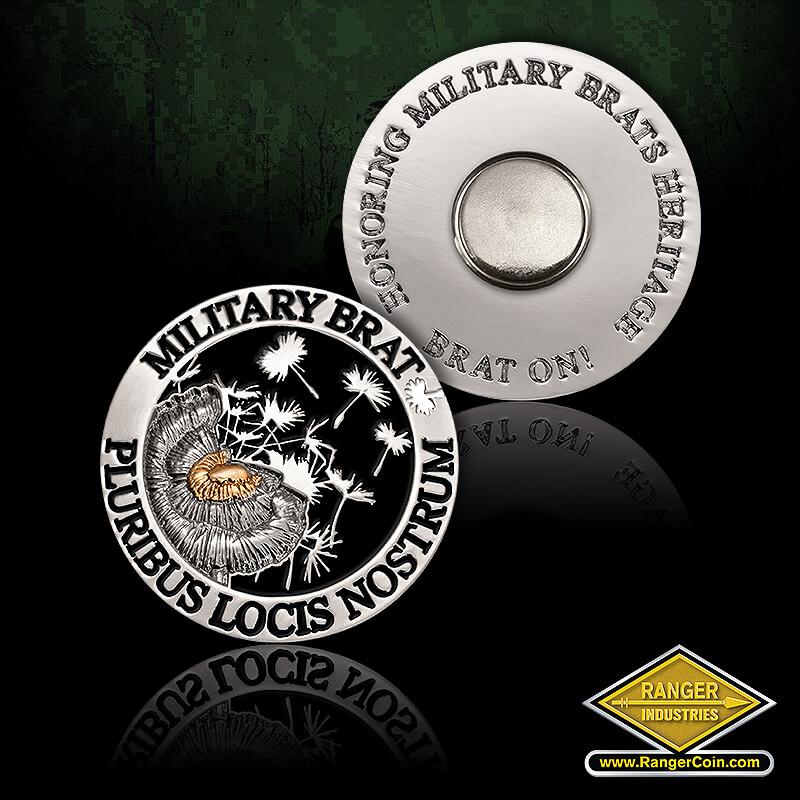 Military BRAT Dandelion Pin - Military BRAT, Pluribus Locis Nostrum, Honoring Military BRATS Heritage, BRAT ON!
