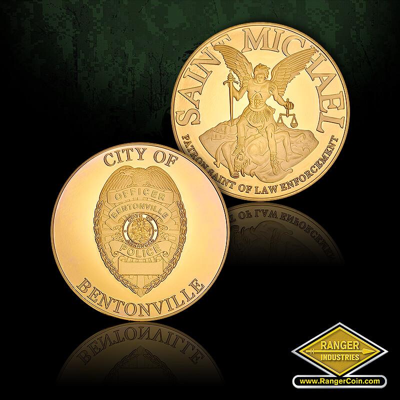 Bentonville PD Coins - City of Bentonville, Saint Michael, Patron Saint of Law Enforcement