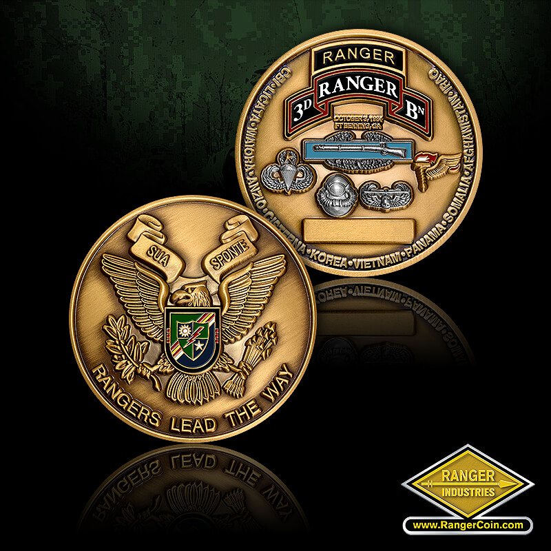 3D Ranger Battalion Coins - Rangers Lead the Way, Sua Sponte, 3D Ranger BN