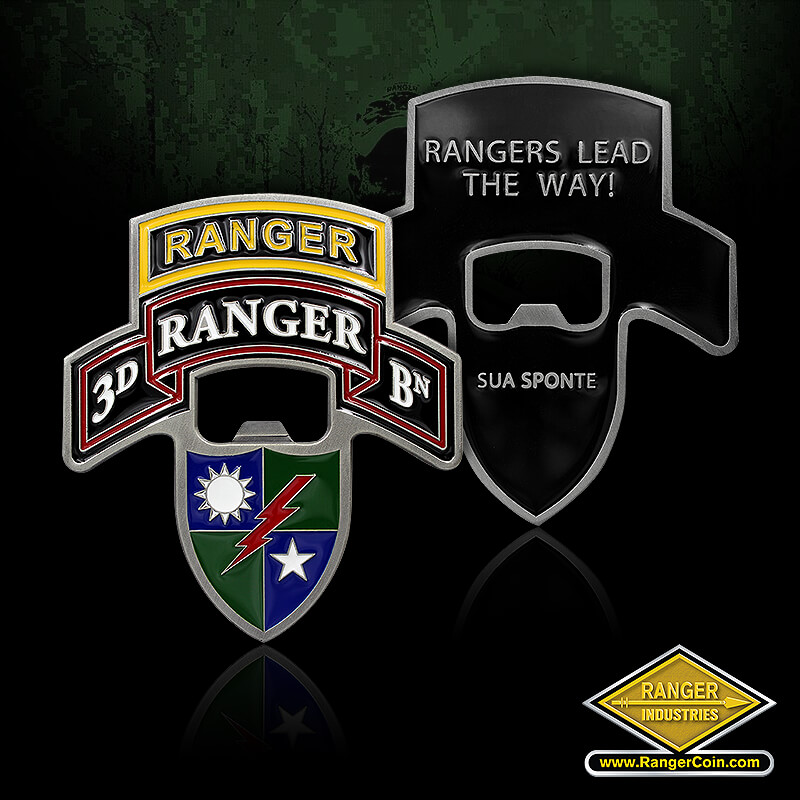 3rd Ranger Battalion Bottle Opener - 3D Ranger BN, Rangers Lead the Way! Sua Sponte