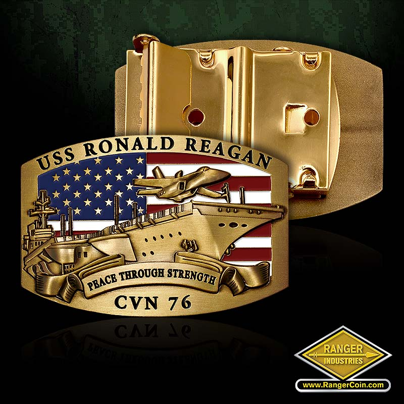 RI-61111 USS Ronald Reagan Belt Buckle